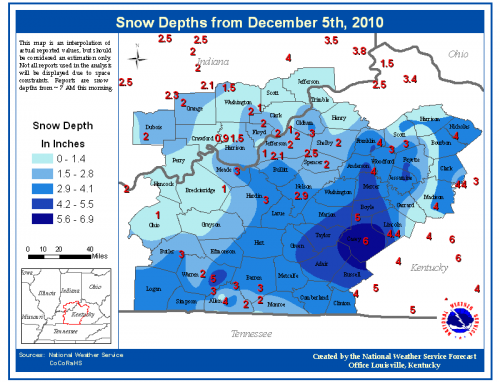 official snow depths in central kentucky